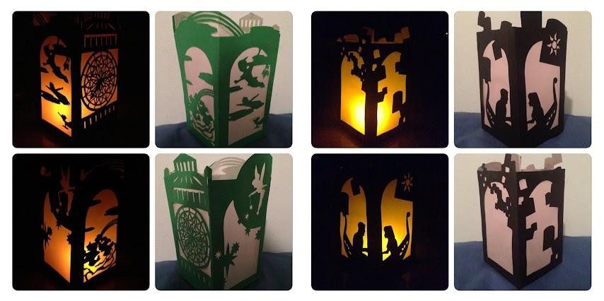 Lámparas de papel con imágenes de cuentos