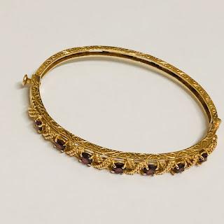 14K Gold & Garnet Bangle