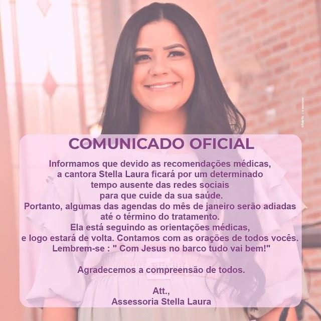 Cantora Stella Laura dará um tempo nas redes sociais por problemas de saúde