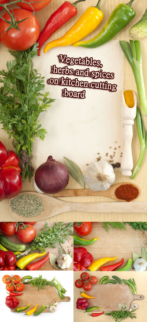 Stock Photo: Vegetables, herbs and spices on kitchen cutting board