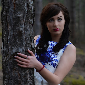 The look in her eyes by Stani Georgiev - People Portraits of Women ( color, dress, woman, three, forest, beauty, eyes )