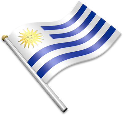 The Uruguayan flag on a flagpole clipart image