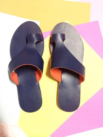 Blue flat sandal