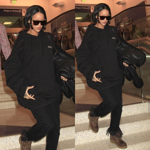 Rihanna in Vetements Hoodie, Super Francis Sciuro, 3x1 Jeans