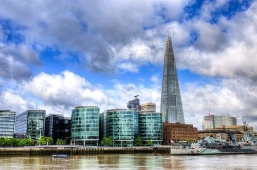 London shard and HMS Belfast