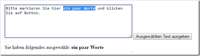 Javascript markierten Text auslesen ausgeben textarea