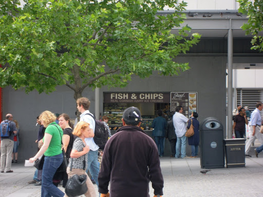 Fish and chips stand near the Tower of London. From  Everything You Need to Know about Eating in London