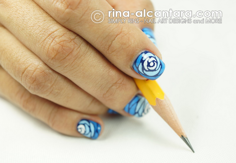 Blue Wave Nail Art Design - With Pencil