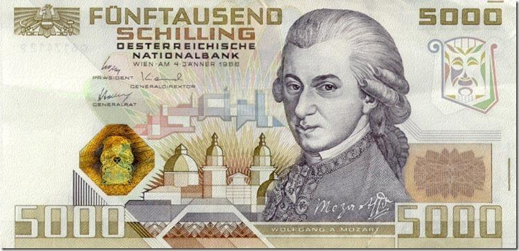 5000 Schilling Note Mozart
