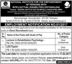 NIMH India Non-Teaching Posts 2017 indgovtjobs