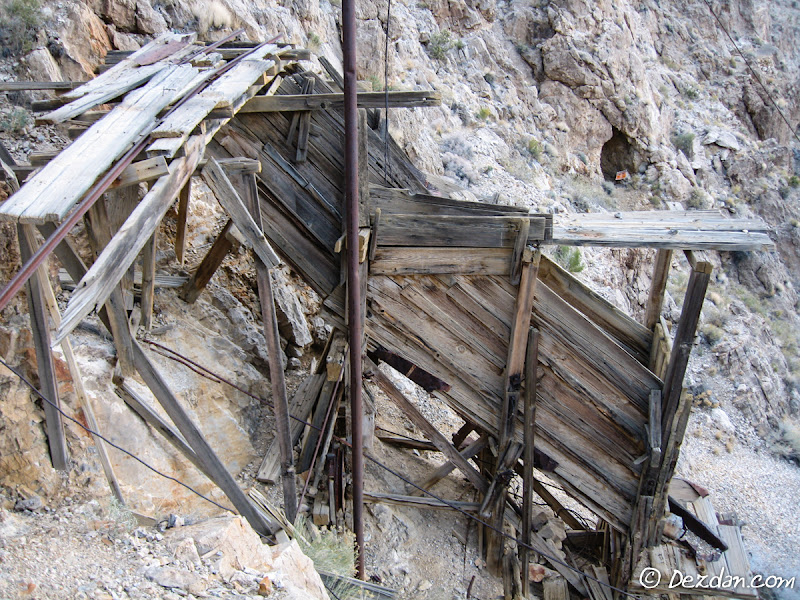 Tracks over a chute that would have loaded tram buckets and sent them down the mountain.