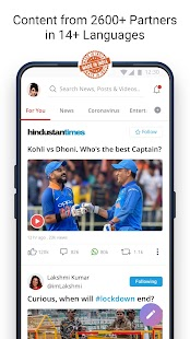Dailyhunt - 100% Indian App for News & Videos Capture d'écran