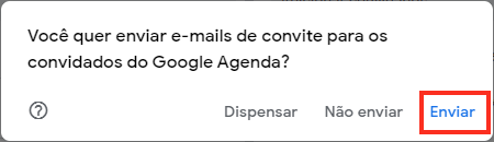Enviar e-mail do evento no Google Agenda