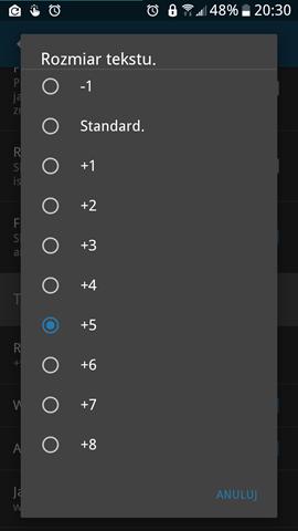 Handy News Reader ver. 0.7.21 - Szerszy zakres dostosowania wielkości tekstu