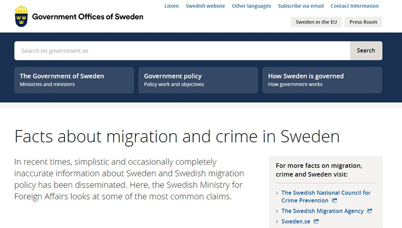 Sweden gov response to Fox