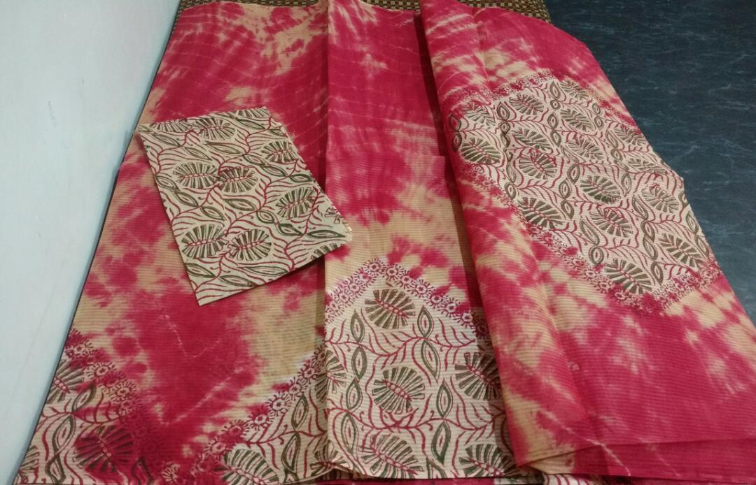 f1eeabfc1f9f0f PB   Shibori Floral Printed Cotton Saree   Rs. 1450