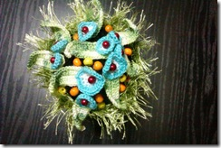 Crochet flowers in a pot