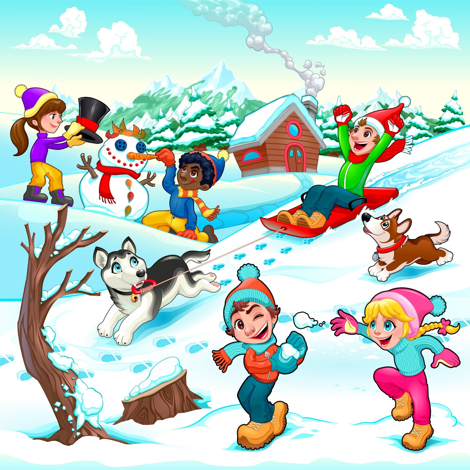 Funny Winter Scene With Children Dogs Cartoon Vector Illustration Free Download Vector CDR, AI, EPS and PNG Formats