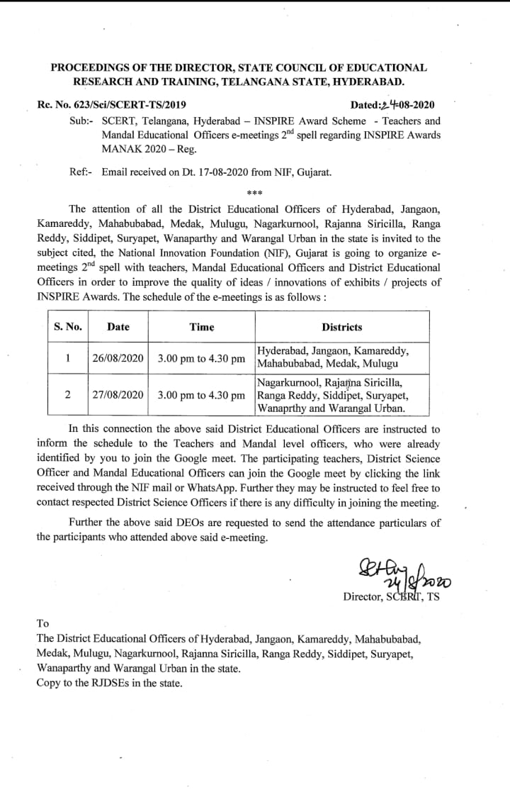Teachers and Mandal Educational Officers e-meetings 2nd spell regarding INSPIRE Awards MANAK 2020 Re. No. 623/Sci/SCERT-TS/2019 Dated:24-08-2020