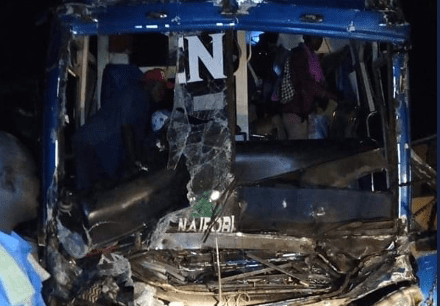 Chania genesis bus crashed at Voi. PHOTO | RMS
