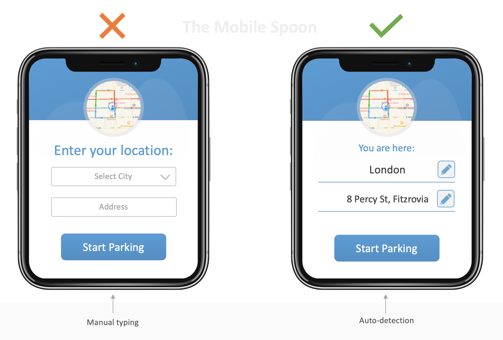 When you park your car, grab your stuff and start walking - you need that parking app to instantly detect your location and save the manual typing.