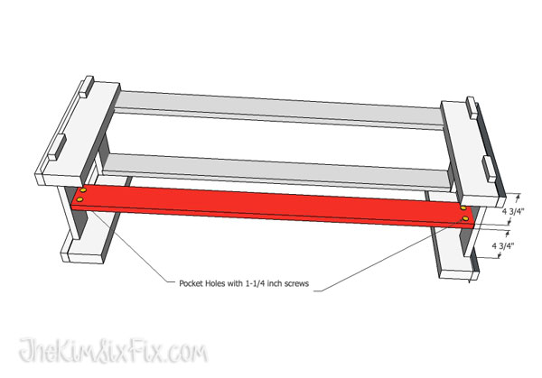 Bench with lower stretcher