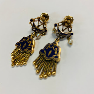 14K Gold, Pearl, and Enamel Earrings