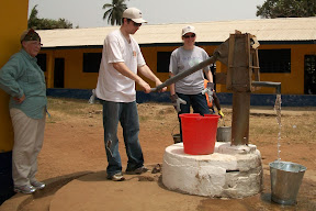 To make mortar, you fill a bucket at the pump and then carry it