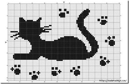 siluetas gatos punto de cruz monocromo  (1)