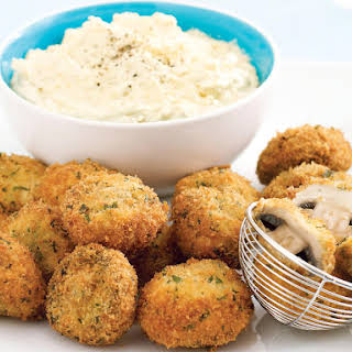 Deep-Fried Mushrooms with Olive Dip.