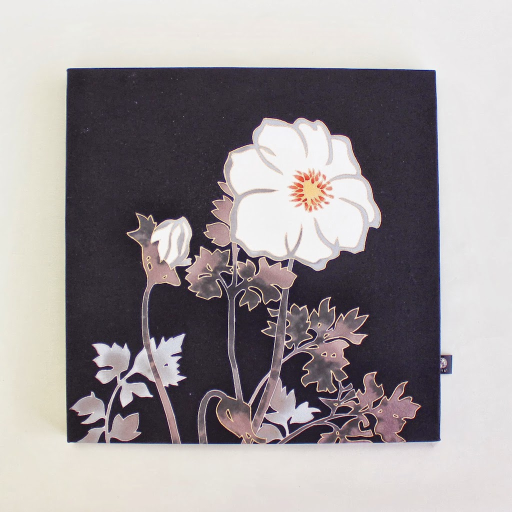 Hand-Painted Kimono Silk Panel - Anemone (black)