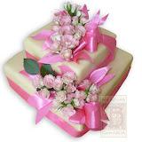 6. kép: Esküvői torták - Esküvői két szintes rózsás rózsaszín szalagos torta