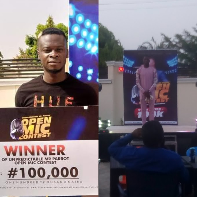 """Mc Aybee"" Emerge Winner at The Just Concluded ""Unpredictable Mr. Parrot Open Mic Contest"" Bags 100K"