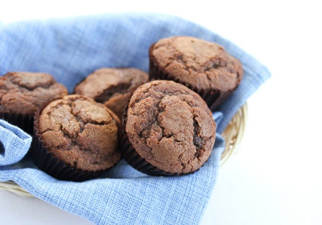 photo of a basket of Chocolate Espresso Muffins