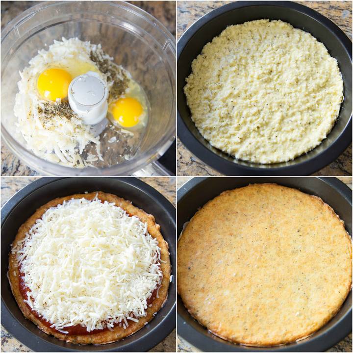 a process photo collage showing how to make the flourless cheese crust