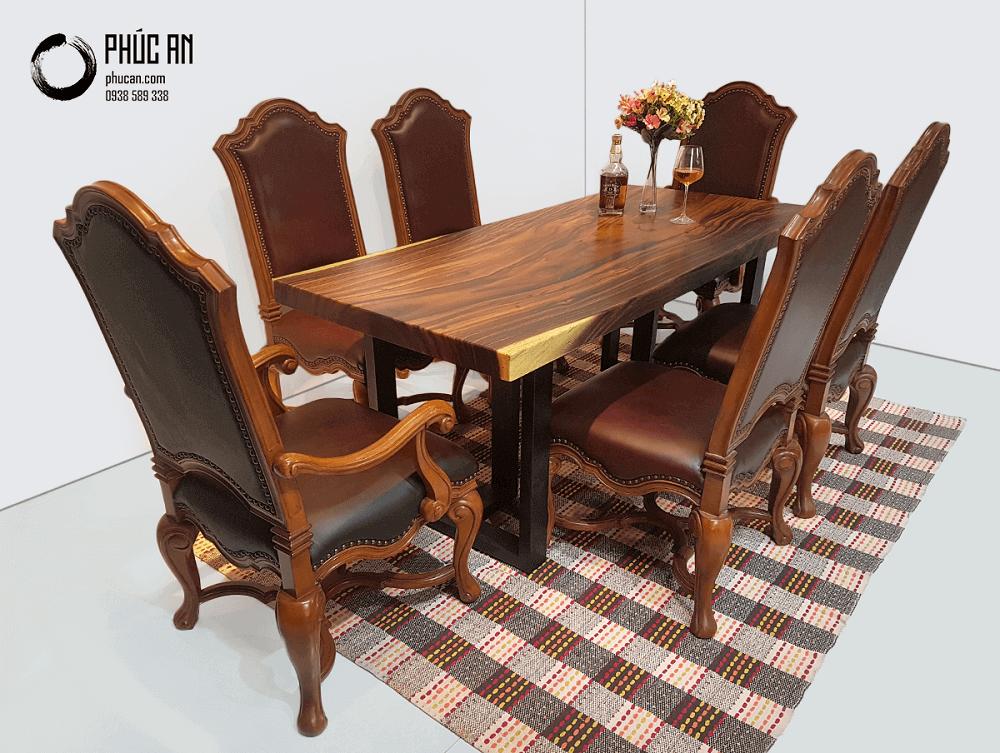 Bàn ăn gỗ Me Tây nguyên tấm 180cm + 6 ghế bọc nệm cao cấp