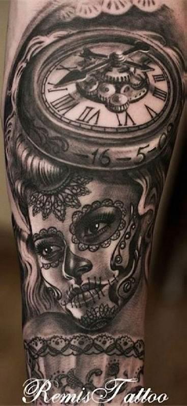 relgio_e_o_dia_f_mortos_tatuagem