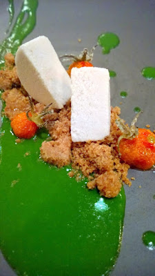 Candied Sungolds, basil, rye, olive oil semi-freddo