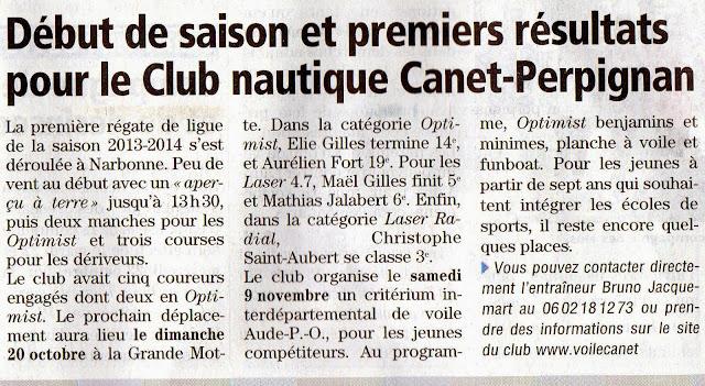 Régate Voile Optimist Narbonne 22_septembre_2013 Club_Nautique_Canet_Perpignan