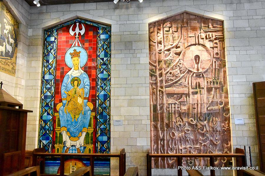 Дева Мария, интерьер Базилики Благовещения. Экскурсия гида в Израиле Светланы Фиалковой.