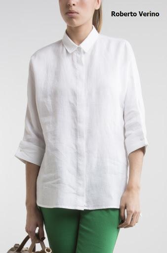 Blusa camisera en lino blanco