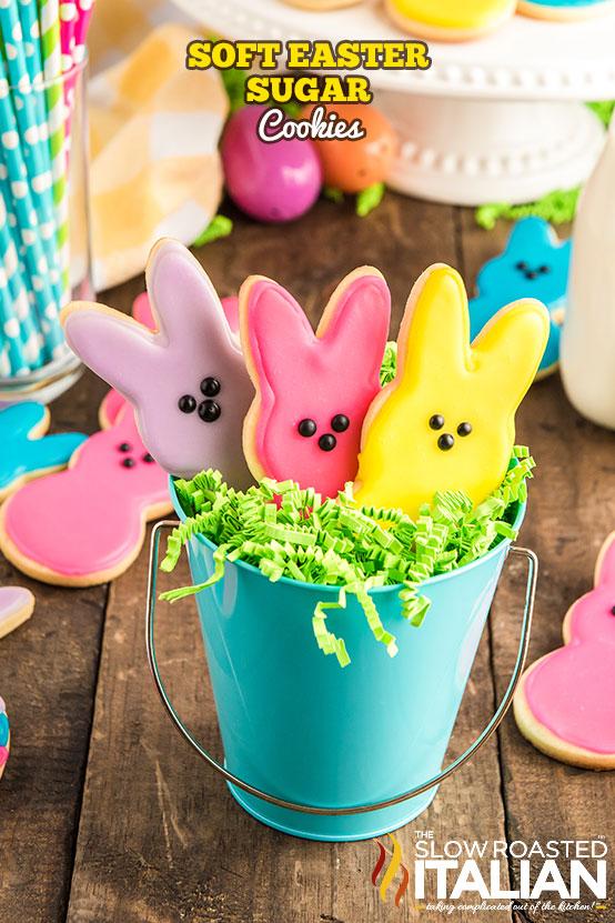 Easter Peeps Sugar Cookies in a bucket