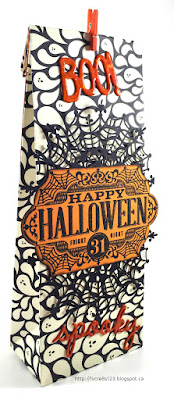 Linda Vich Creates: Halloween Round Up. Halloween gift bag created using the Gift Bag Punch Board and Spider Web Doilies.