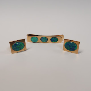 14K Gold and Opal Cuff Link & Tie Clip Set