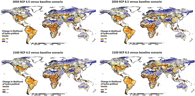 Change in the likelihood of hydro-political issues considering four future climate change and population scenarios. Graphic: Farinosi, et al., 2018 / Global Environmental Change