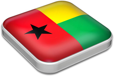 Flag of Guinea Bissau with metallic square frame