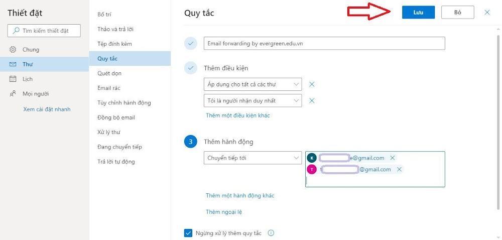 Tạo quy tắc tự động forward mail trong Outlook