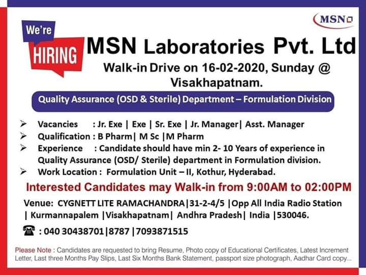 MSN Laboratories Ltd - Walk in interview for Quality Control on 16th Feb 2020
