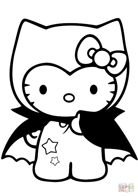 Click The Hello Kitty Dracula Coloring Pages To View Printable Version Or  Color It Online Patible With Ipad And Android Tablets