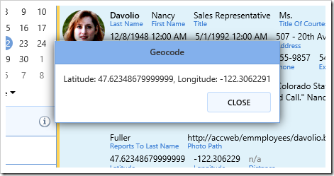 The popup shows the returned latitude and longitude.